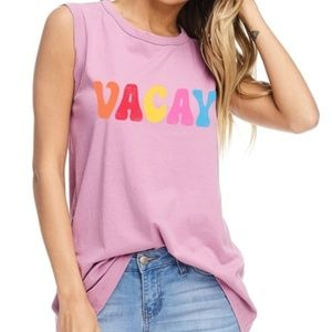 Tops - Vacay ❤️ Rainbow Letter Graphic Tank